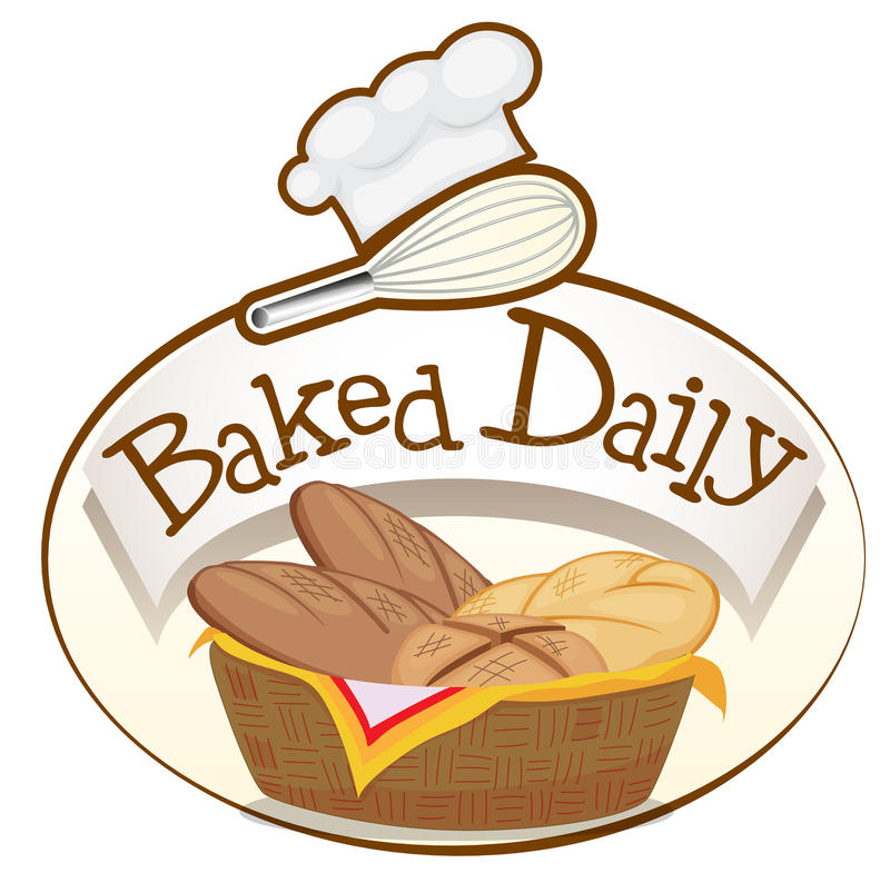 A baked daily label with a basket of breads. Illustration of a baked daily label with a basket of breads on a white background vector illustration