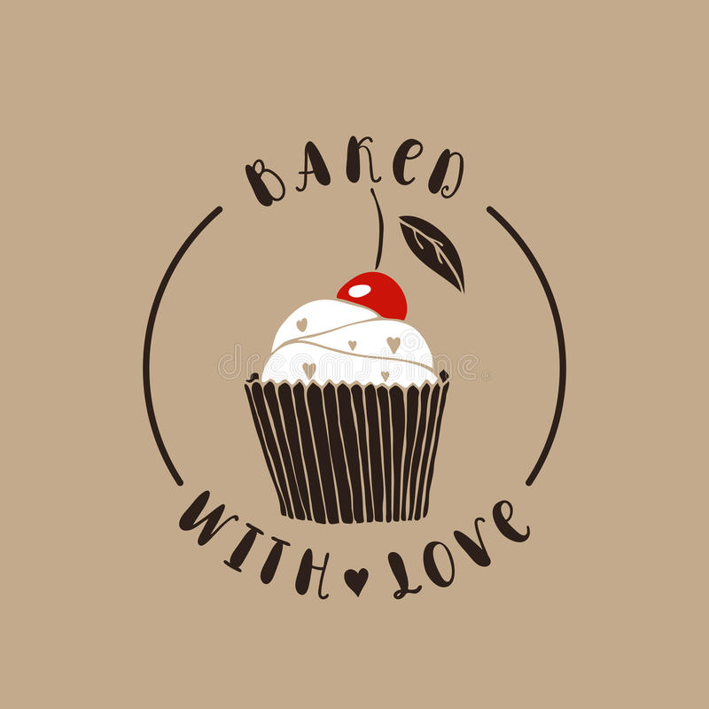 Baked with love vector illustration