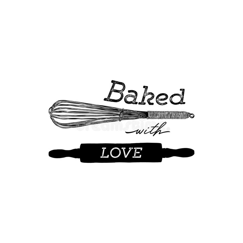 Baked with love hand draw kitchen tools, handwritten lettering. stock illustration