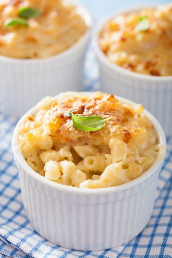 Baked macaroni with cheese. In ramekin stock image