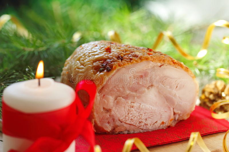 Download Baked Meat For Christmas Dinner. Stock Photo - Image of chicken, candle: 81256102