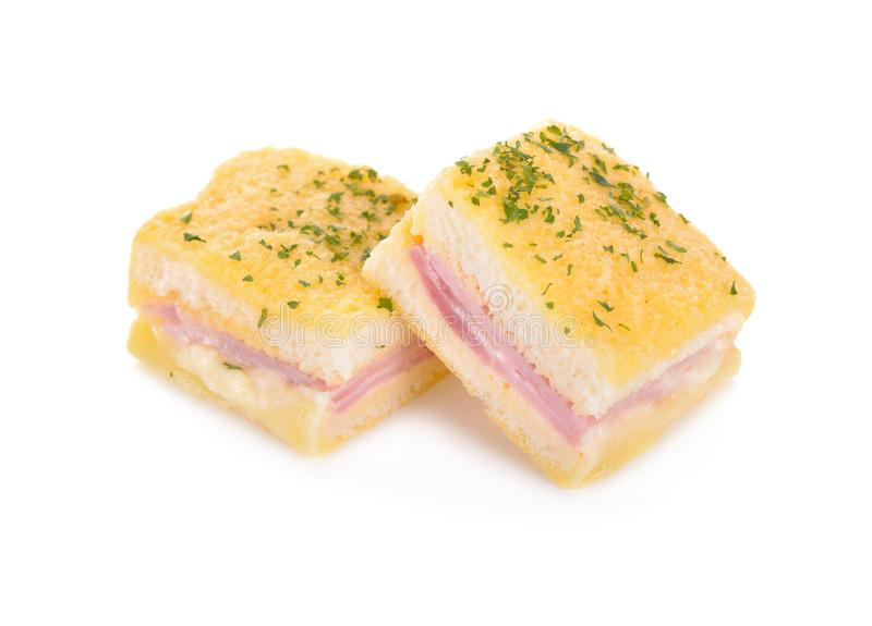 Baked mini sandwich on white background stock photo