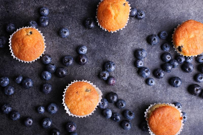 Baked muffins and fresh ripe blueberries stock image