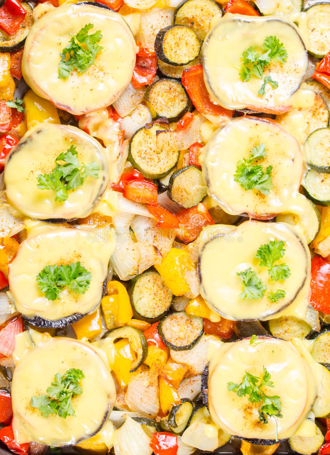 Baked muschrooms with cheese royalty free stock images