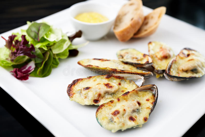 Download Baked mussels stock image. Image of health, opened, parmesan - 29769281