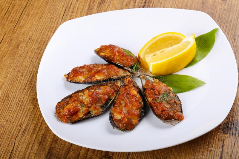 Baked mussels royalty free stock photography