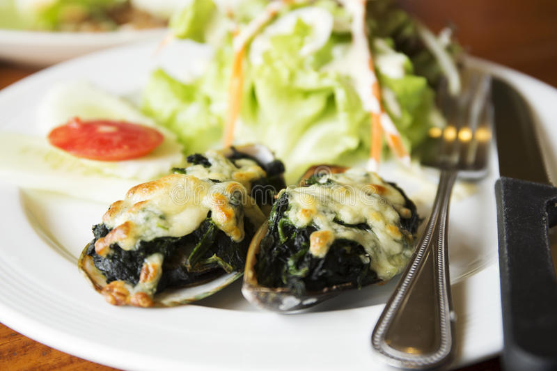 Baked mussels with cheese royalty free stock image