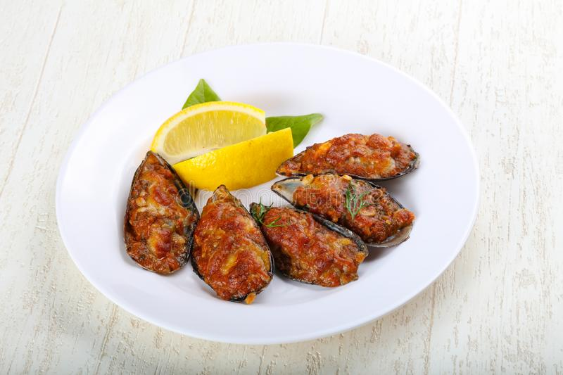 Baked mussels stock photography