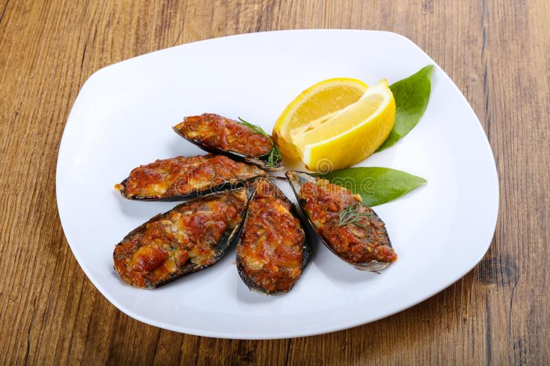 Baked mussels royalty free stock image