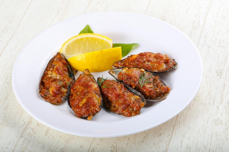 Baked mussels royalty free stock photos