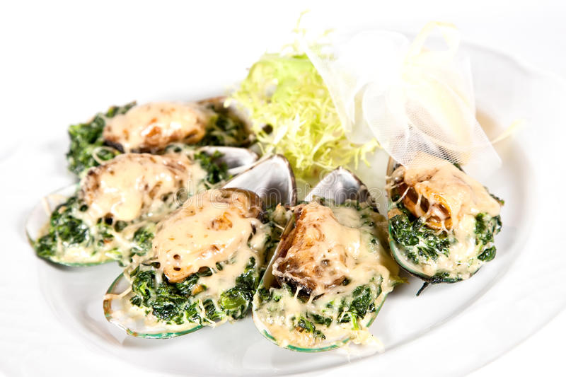 Baked mussels with spinach stock photography