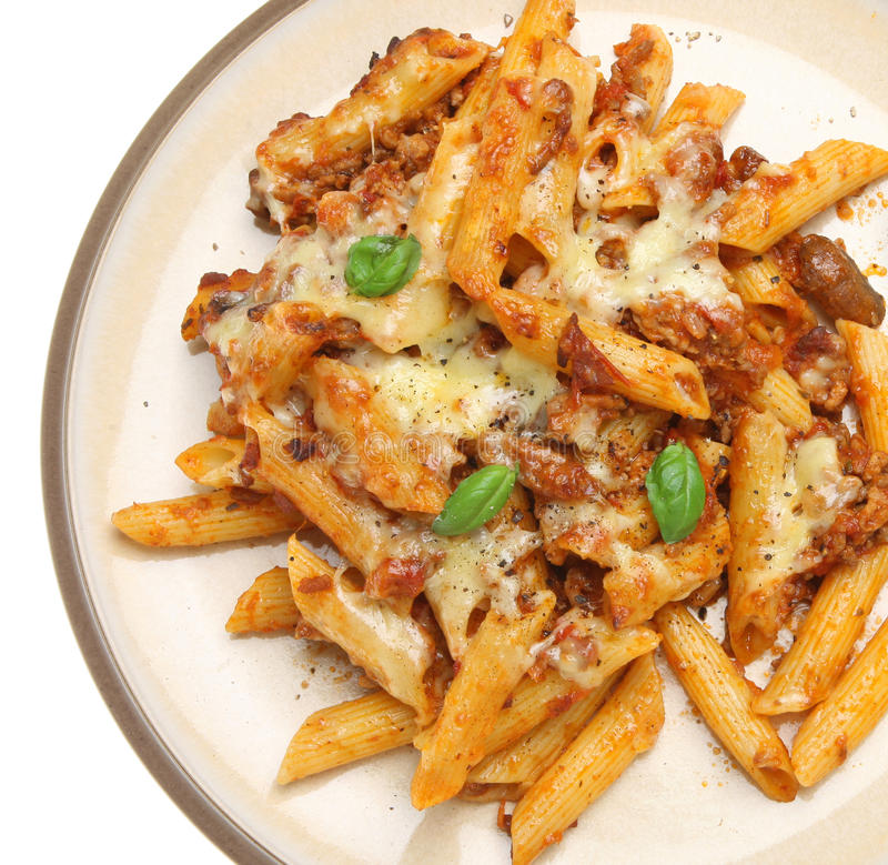 Baked Penne Pasta With Bolognaise Sauce & Cheese Royalty Free Stock Photography