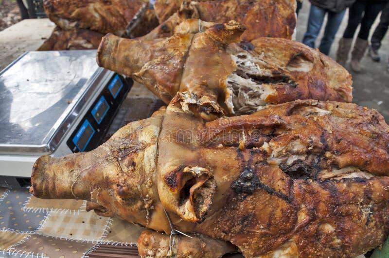 Roast pork head stock photos