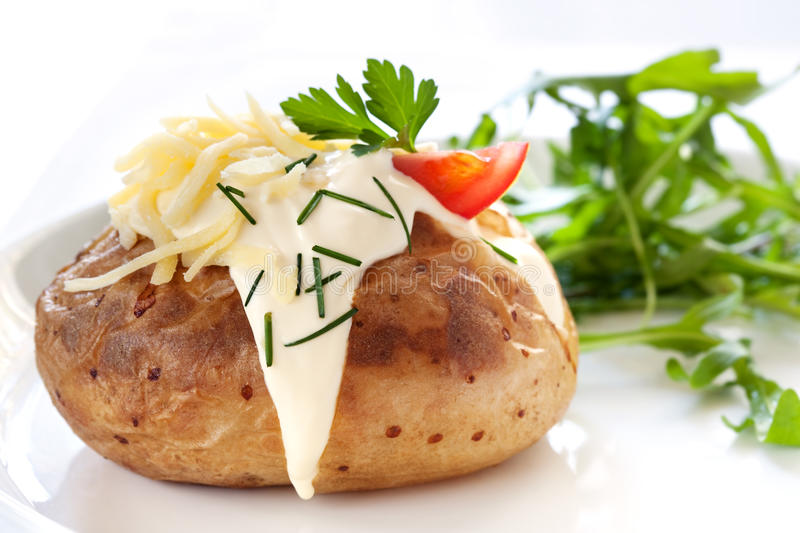 Baked Potato with Salad royalty free stock photography