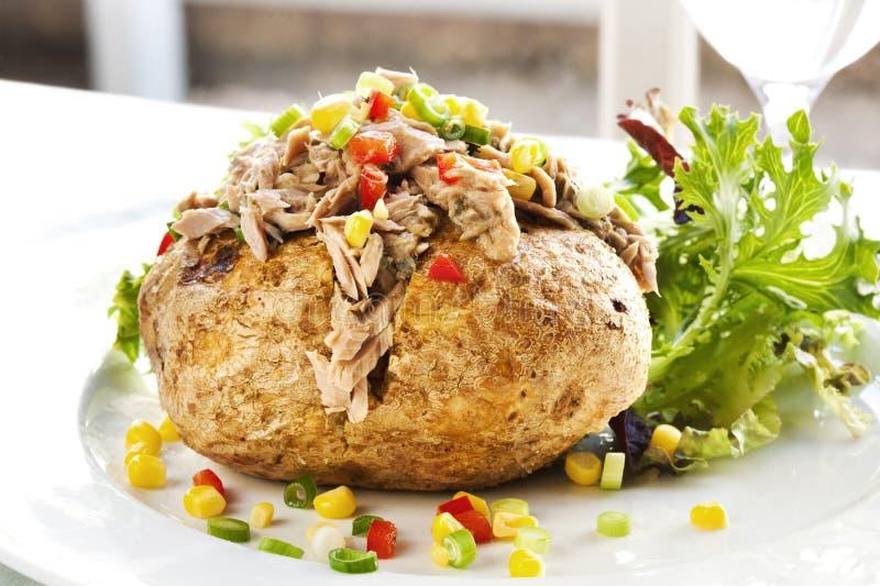 Baked Potato with Tuna royalty free stock photos