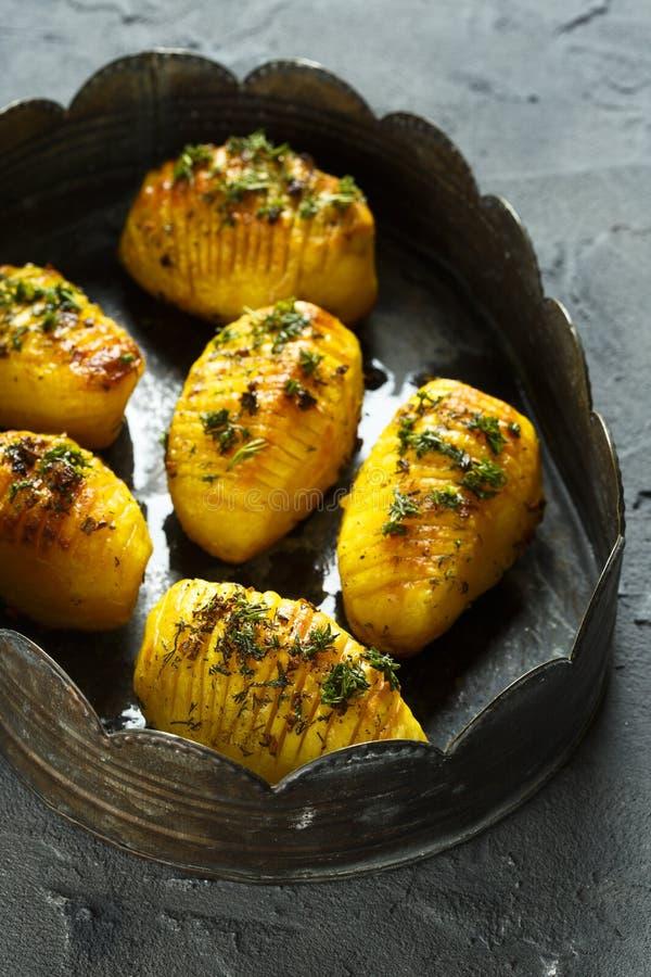 Baked potatoes royalty free stock photography
