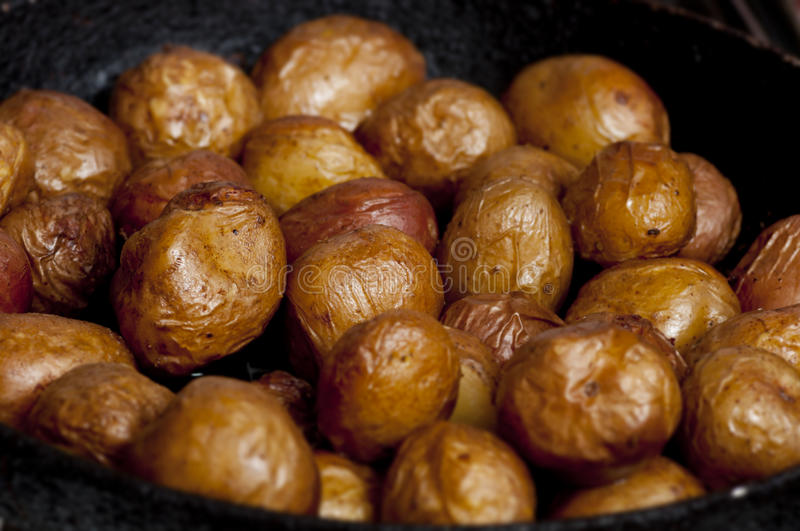 Baked potatoes in cast-iron frying-pan royalty free stock photos