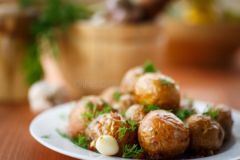 Download Baked potatoes stock image. Image of dill, horizontal - 34746453