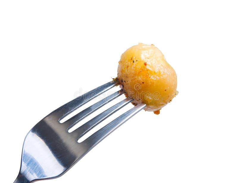 Baked potatoes,macro, stock image