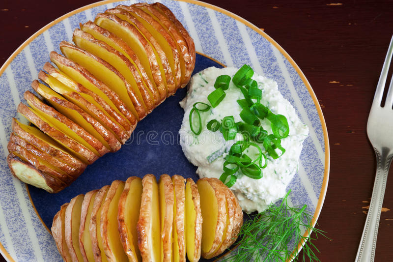 Baked potatoes stock photo