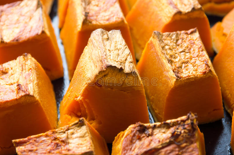Download Baked Pumpkin Slices On A Cooking Plate Stock Photo - Image: 83721284