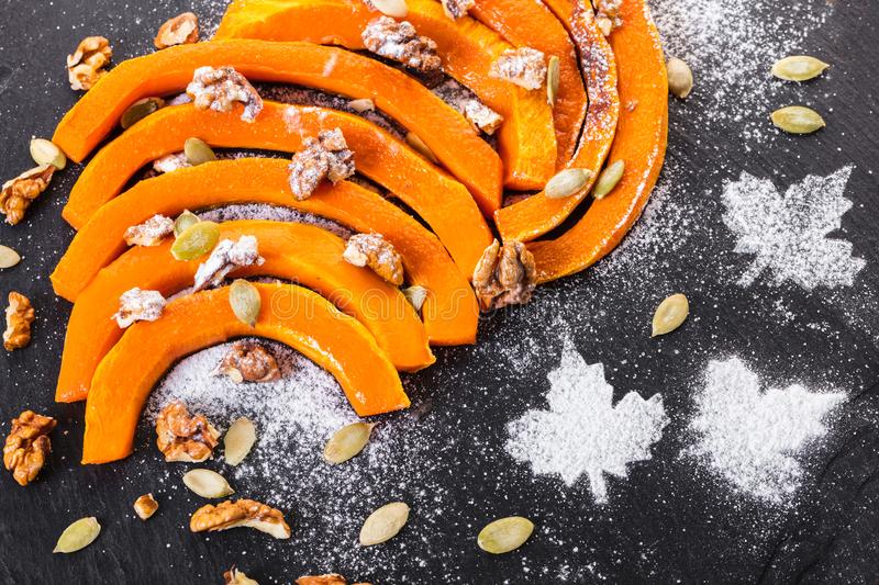 Baked pumpkin slices royalty free stock images