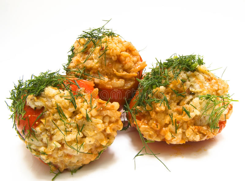 Baked red pepper. Stuffed with rice stock photos