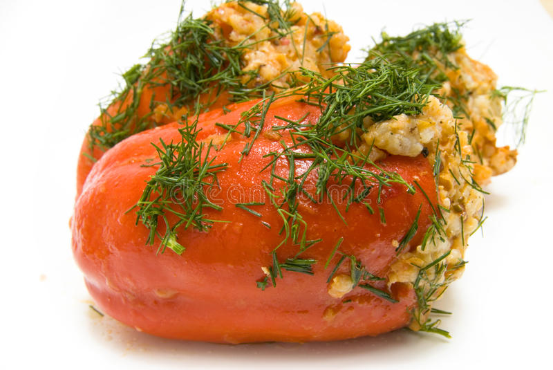 Baked red pepper. Stuffed with rice royalty free stock images