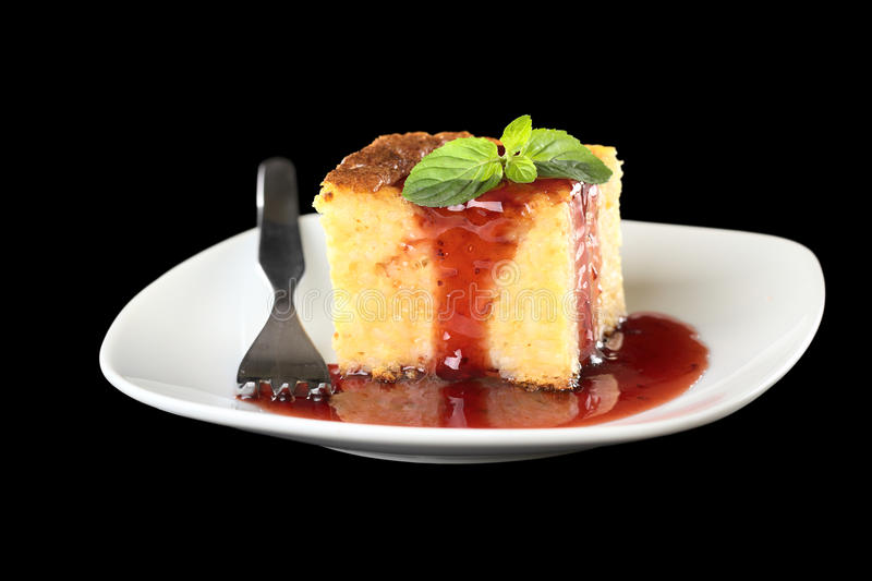 Download Baked Rice Pudding With Strawberry Sauce And Mint Stock Photo - Image: 21182268
