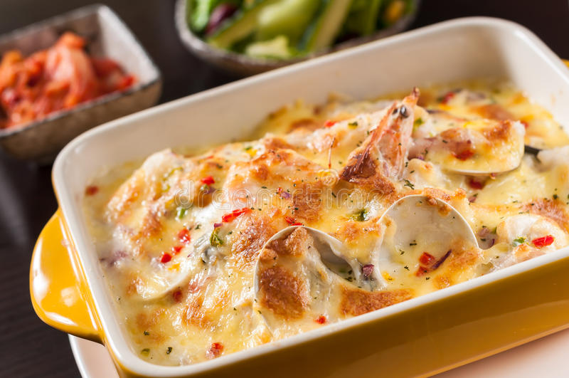 Baked rice with seafood stock image