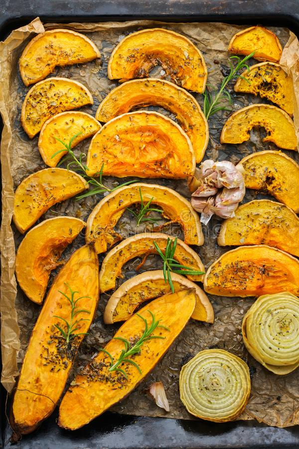 Baked roasted grilled orange pumpkin butternut squash and sweet potato royalty free stock photo
