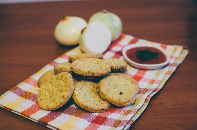 Baked Round Cookie Beside Red Sauce With Green Toppings Free Public Domain Cc0 Image
