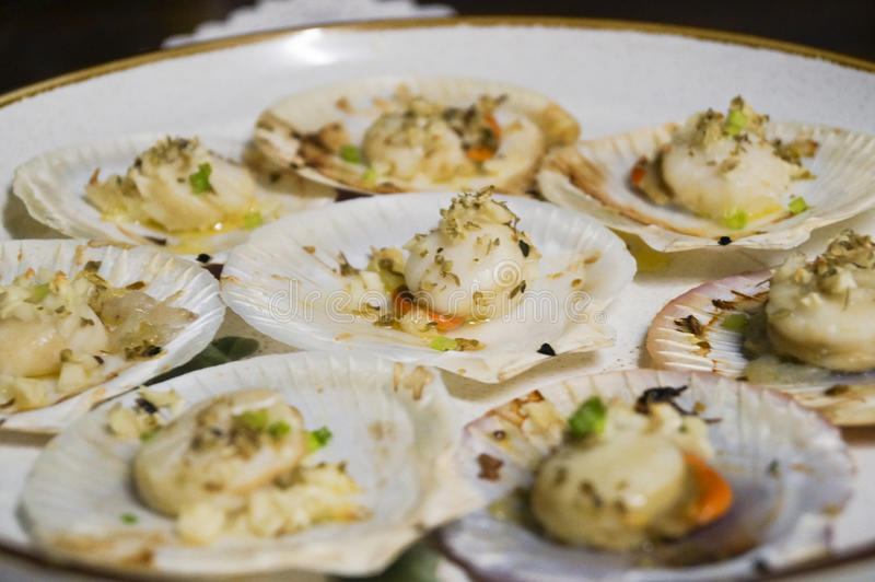Baked scallop stock images