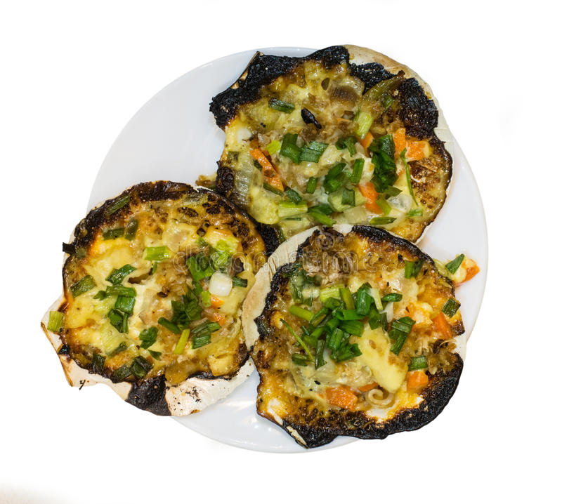 Baked Scallops with Cheese royalty free stock photo