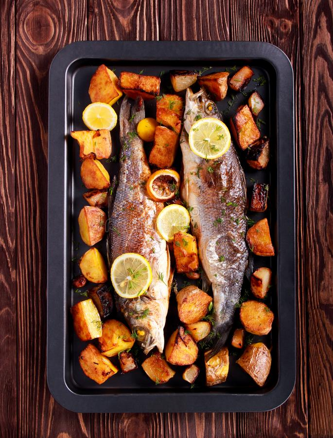 Baked sea bass fish and vegetables on black tin. Top view stock photography