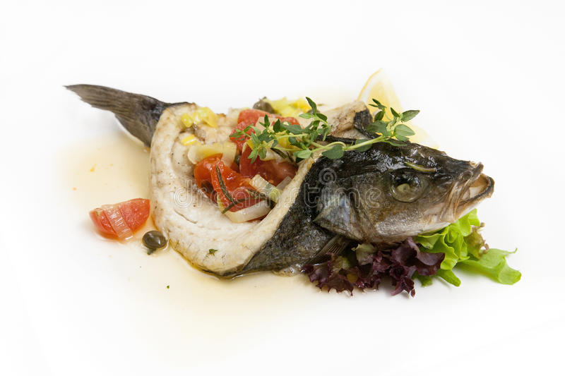Download Baked sea bass stock photo. Image of restaurant, dinner - 30970750