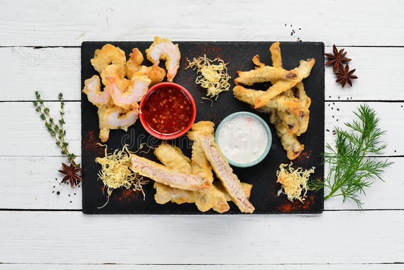 Baked Seafood. squid, shrimp, salmon. royalty free stock photos