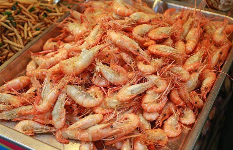 Baked Shrimp at the market royalty free stock image
