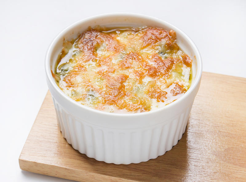 Baked spinach with chesse stock photos