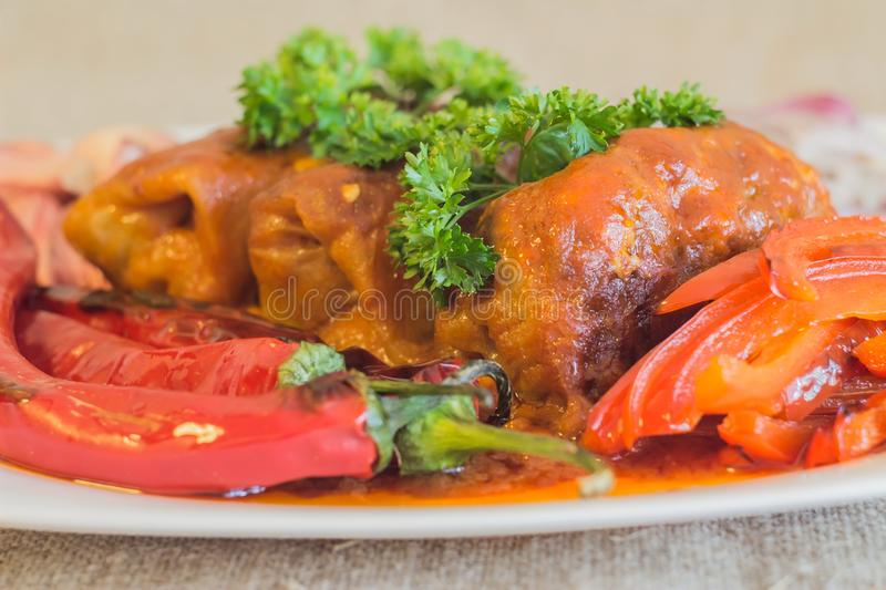 The baked stuffed cabbage under sauce from kefir and tomatoes royalty free stock photos