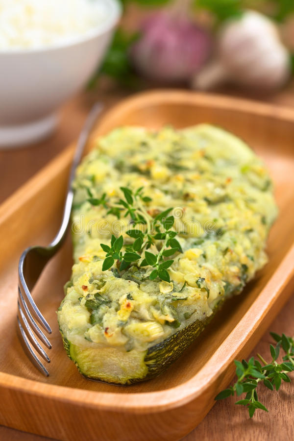 Baked Stuffed Zucchini Royalty Free Stock Photography