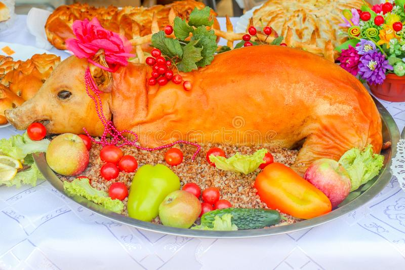 Baked suckling pig on the table stock photography