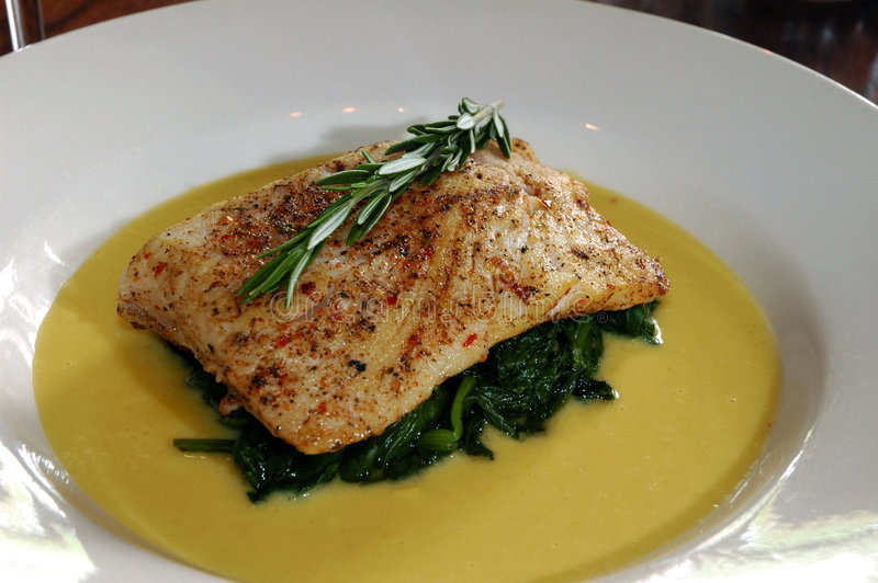 Download Baked Tilapia Over Steamed Spinach Stock Image - Image: 8485873