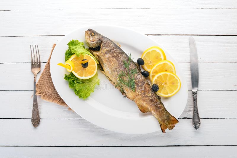 Baked Trout with Vegetables. royalty free stock photo
