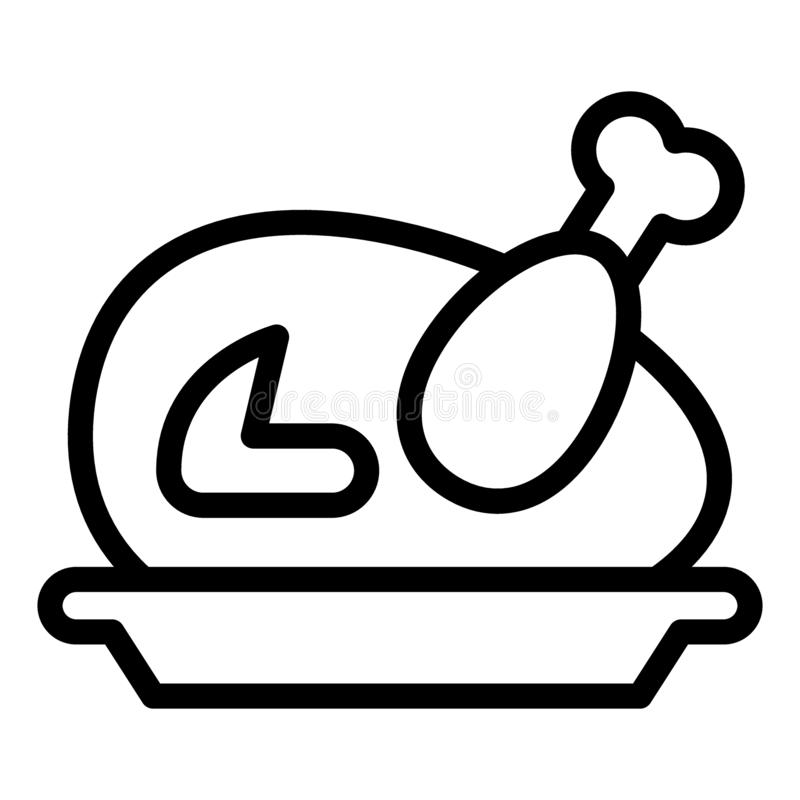 Baked turkey line icon. Fried turkey vector illustration isolated on white. Chiken outline style design, designed for. Web and app. Eps 10 vector illustration
