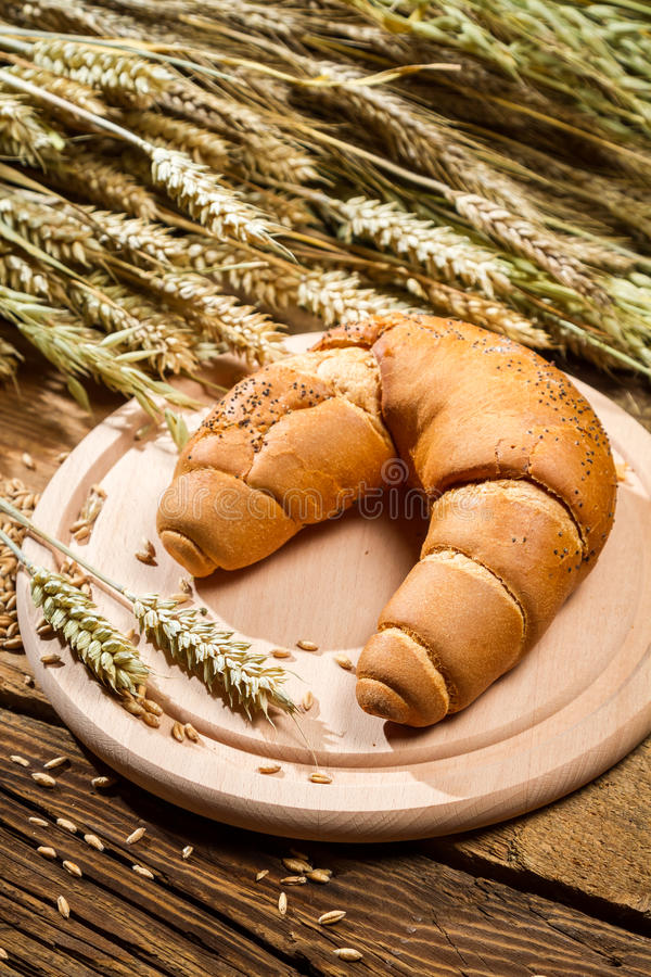 Baked twirl surrounded by grains with ears stock photo