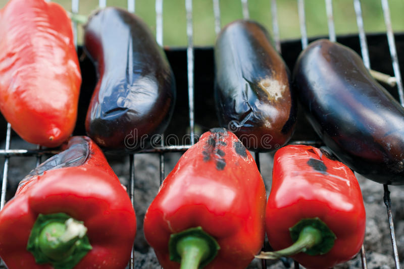 Baked vegetables on a grill royalty free stock photography