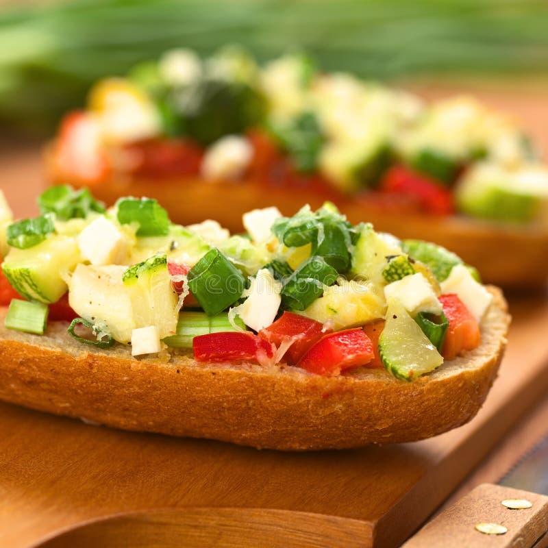 Download Baked Vegetarian Open Sandwich Stock Image - Image of bell, bread: 26507145