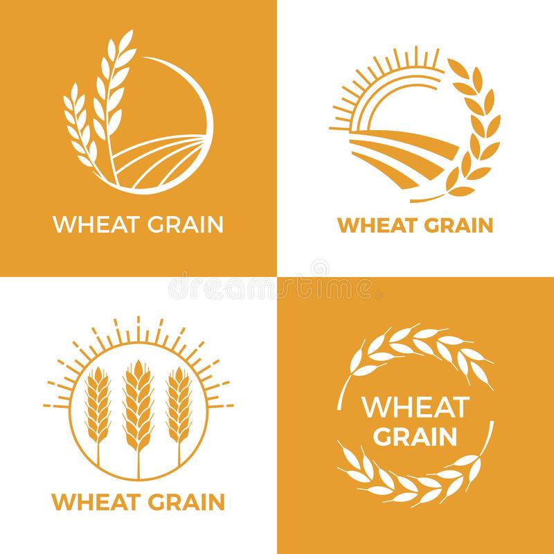 Baked wheat logo. Field wheats grain label, bake elements. Food baking insignia vector illustration set. Baked wheat logo. Field wheats grain label, bake vector illustration