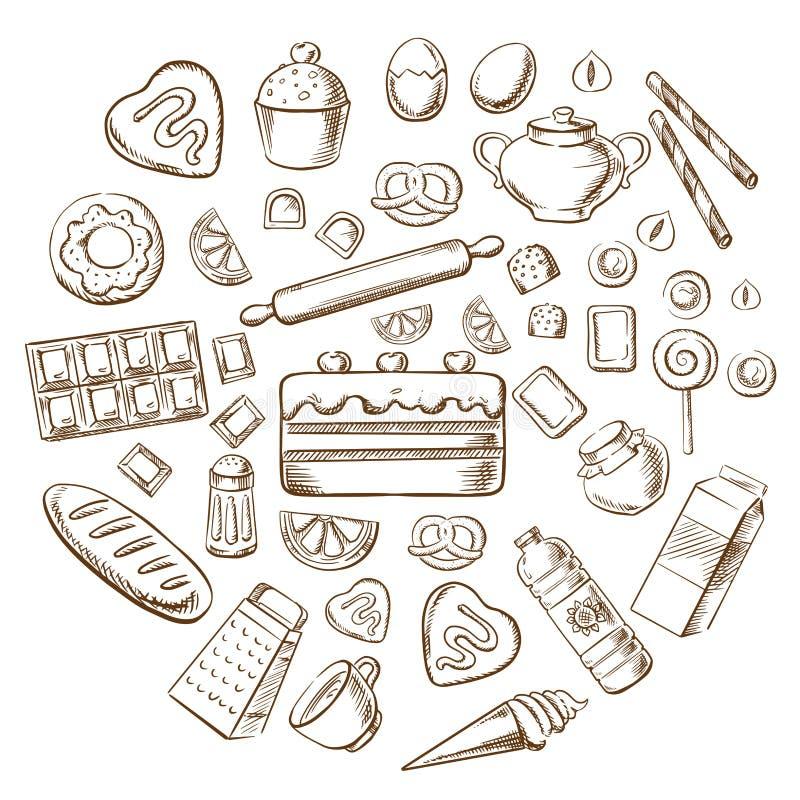 Bakelse, efterrätten och bagerit skissar symboler royaltyfri illustrationer